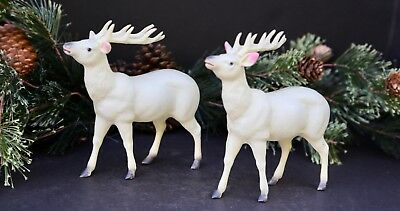 Pair of Vintage 1940s White Celluloid Christmas Reindeer -marked Occupied Japan