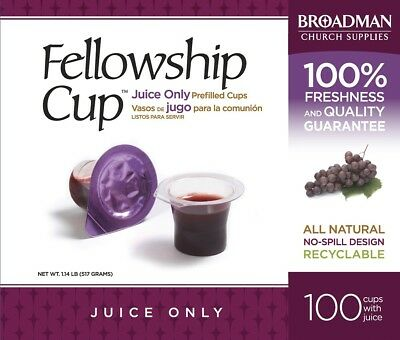 B & H Publishing Group Communion Fellowship Cup Prefilled Juice Only, Box Of 100