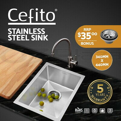 Cefito Kitchen Sink Nano Stainless Steel Handmade Top/Undermount Bowl 340x440mm