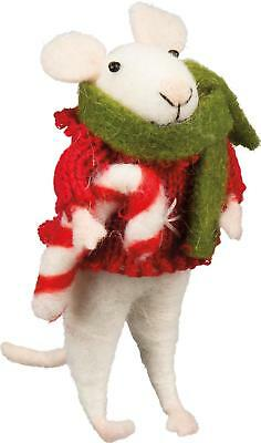 Primitive Country Folk-Art Ruby Mouse With Candy Cane