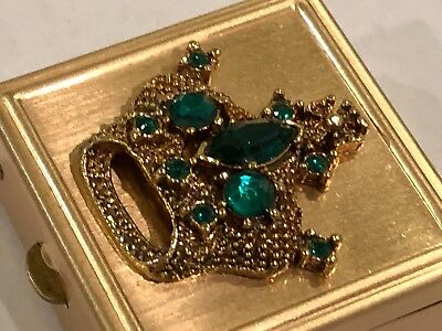 Vintage Gold & Emerald Green Rhinestone Crown Divided Hinged Pill or Snuff Box
