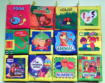 12 x For Kid Baby Intelligence development Cloth Cognize Book Educational Toy