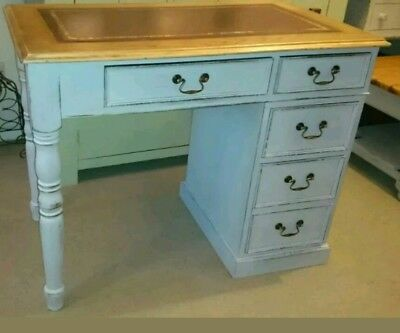 Lightly Distressed Solid Oak Partners Desk In Pavilion Gray Farrow And Ball