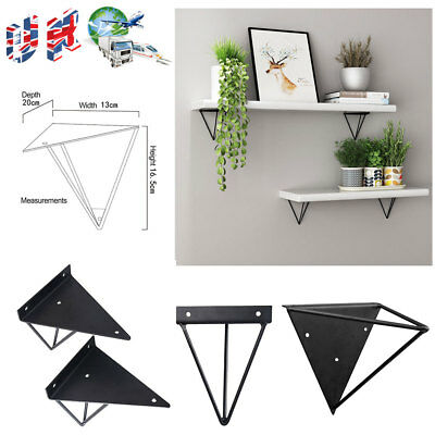 2x Durable Hairpin Industrial Wall Shelf Support Brackets Metal Prism Mount New