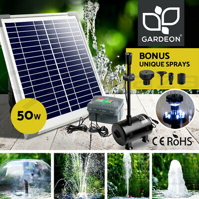 Gardeon 50W Solar Powered Water Pond Pump Kit with Battery Outdoor Submersible