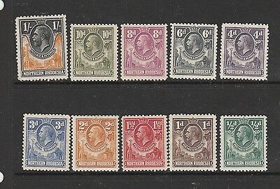 Northern Rhodesia 1925/9 short set to 1/- MM SG 1-10