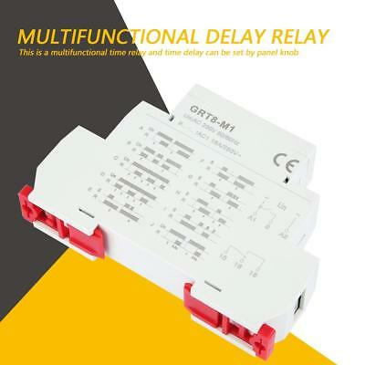 GRT8-M1 AC 220V Multifunctional Delay Time Relay W/ 10 Functions DIN Rail Mount