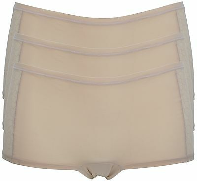 Ex Store Pack of 3 Floral Mesh & Microfibre Shorties Nude Small