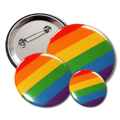 Regenbogen Button, Anstecker, Pin, Badge, 38mm / 25mm, Gay Pride, LGBT, Rainbow