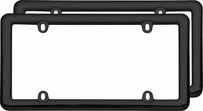 2 Semplice Nouveau Black Plastic License Plate Tag Frames for USA Car-Truck-SUV