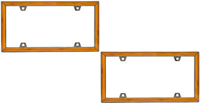 2 Bamboo Wood Design License Plate Tag Frames for Auto-Car-Truck