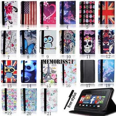"""FOLIO LEATHER STAND CASE COVER For Amazon Kindle Fire 7"""" /HD 8""""/ HD 10"""" + Stylus"""