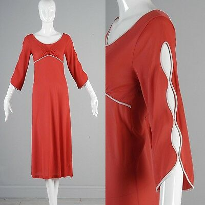 XS 1970s Silky Feel Nightgown Decorative Sleeve VTG Dark Peach Red Sleepwear
