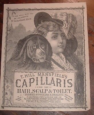 Ex Large Victorian Trade Card T.Hill Mansfield's Capillaris Hair Scalp Pomade