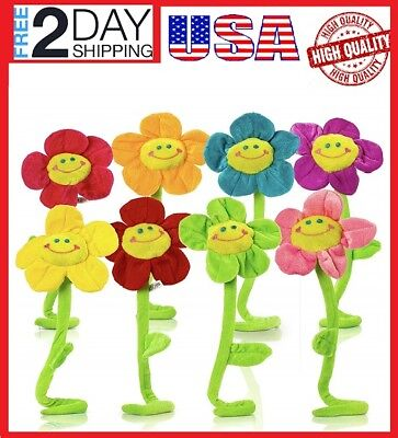 """8 Piece Plush Daisy Flower With Smiley Happy Faces Colorful Sunflower/ 18""""Inches"""