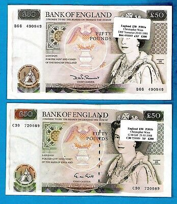 British Banknotes - £50 Christopher Wren DHF Somerset GM Gill - Choose Your Note