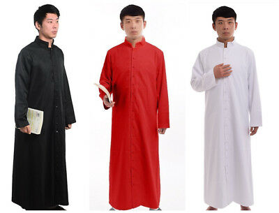 Roman Robe Vestments Men Cassock Orthodox Clergy Single Breasted Stand Collar