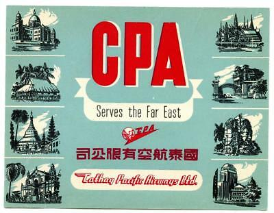Vintage Cathay Pacific Airways CPA CHINA Multi-Image Airline Luggage Label