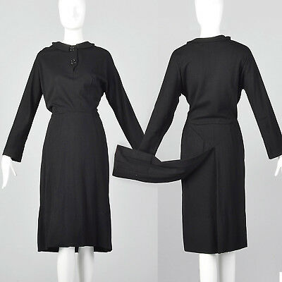 Medium 1940s Knit Dress with Tails Long Sleeve VTG Black Collar Metal Side Zip