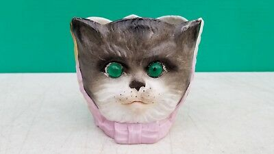 Antique German Bisque 3 Face Fairy Candle Lamp   Owl Dog Cat w glass eyes