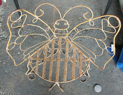 Rare Vintage Wrought Iron Butterfly Corner Bench Seat Outdoor Garden Chair Mid C