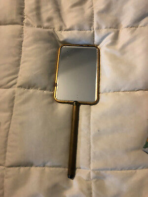 Vintage Gold Metal Hand Mirror W/ Woman In Bonnet Hat On Back