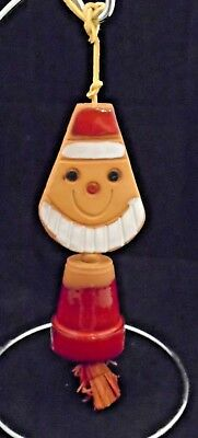 Vtg Pacific Stoneware Pottery Santa Christmas Wind Chime Bell People Lover