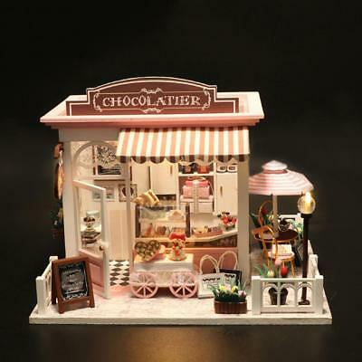 DIY Doll House Miniature Kit Chocolate Shop Dollhouse Sweet Kids Girls Gift LED