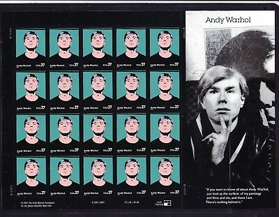 USA 2002 -  37c Andy Warhol Block 20 Peel & Stick with  First Day Cover