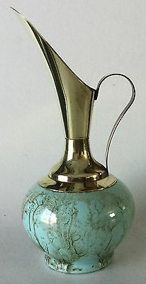 """Vintage GOUDA Holland Pitcher Ewer Vase 7 3/4"""" Brass and Green Pottery"""