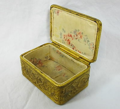 Antique Victorian 1850's UK Gold Gilt Solid Brass Embossed Jewelry Trinket Box