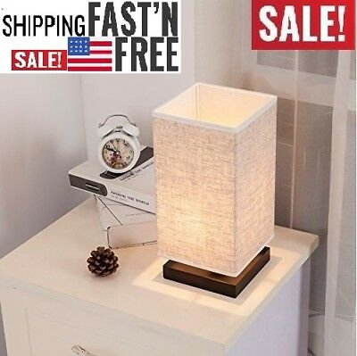 ZEEFO Simple Table Lamp Bedside Desk Lamp With Fabric Shade and Solid Wood NEW