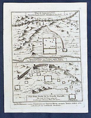 1755 Prevost Antique Map The Great Wall & Forts in the Hebei Province of China,