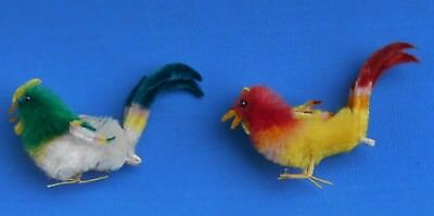 2 vintage Chenille peeps Chicks rooster Wire feet Easter decoration putz