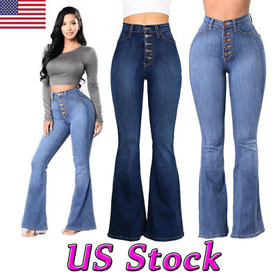 US Women Skinny High Waist Flare Denim Jeans Pants Bell Bottom Stretch Trousers