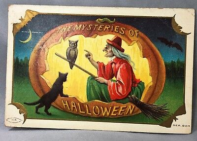 1909 HALLOWEEN MYSTERY Witch Owl Cat Embossed Postcard ANTIQUE Original