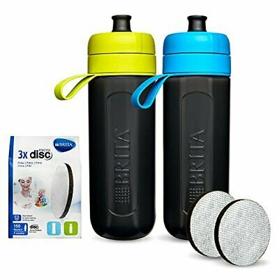 2x BRITA fill&go Active Water Filter Bottles 600ml with 5 MicroDisc Filters