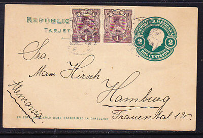 Mexico 1912 Embossed 2c Uprated Lettercard to Hamburg Germany