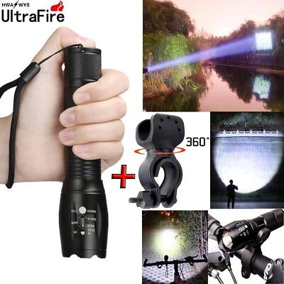 50000Lumens LED T6 Zoom Tactical 18650 Flashlight Outdoor Light Torch Lamp