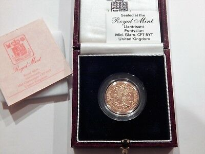 1989 Great Britain Gold Sovereign Coin All Original With Box And Coa All Nice