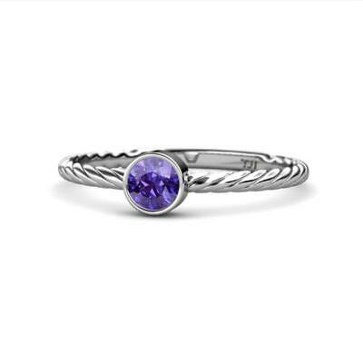 Round Iolite Womens Solitaire Rope Promise Ring 0.40 ct 14K Gold JP:163945