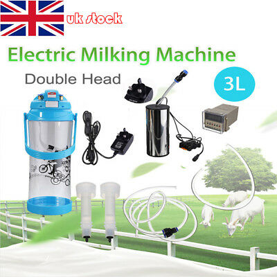 3L Electric Barrel Milking Machine Farm Cow Goat Milker Impulse Type Vacuum Pump