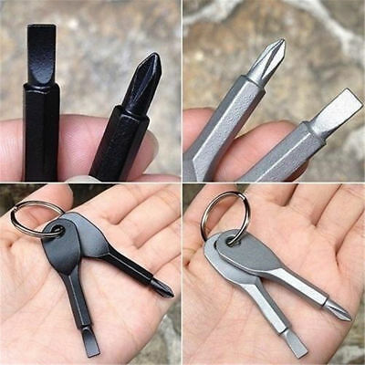 Pocket Outdoor Tool EDC Screwdriver Stainless Steel Key Ring Keychain Multi Tool
