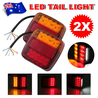 1 Pair 12V 20 LED Trailer Lights Tail Lights Truck Caravan Square Lamp 100x100mm