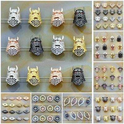 Zircon Gemstones Pave Crown Helmet Leopard Bracelet Connector Charm Loose Beads