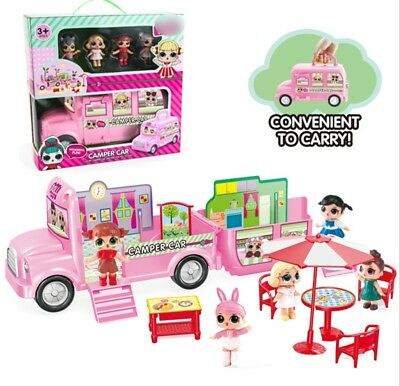 Kids Girl Surprise Toy Camper Car Playset Bus Aircraft Figure Toy Girl Xmas Gift