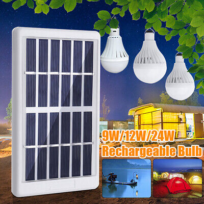 9W/12W/24W Solar Panel Power LED Bulb Light Portable Garden Outdoor Camp Lamp