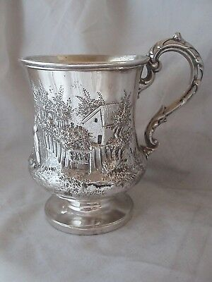 Ornately Chased Tankard Victorian Sterling Silver London 1844