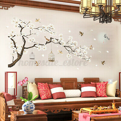 PINK BLOSSOM BRANCH wall stickers 36 decals leaves flowers decor cherry