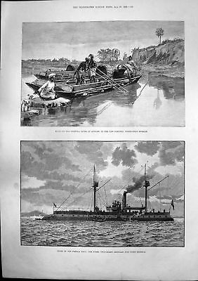 Antique Old Print French Fusee Twin Screw Ironclad Boats Myettha River 1889